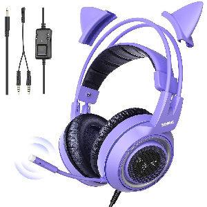auriculares gramer con micrófono y orejas de gato