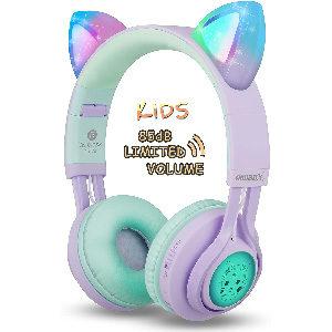 auriculares infantiles con control de volumen, luz led, y orejitas