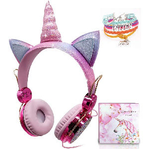 cascos brillantes para niña con cuernos de unicornio