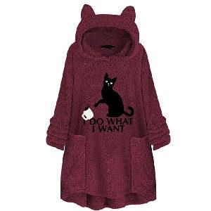 Abrigo de invierno con capucha y orejas de gato