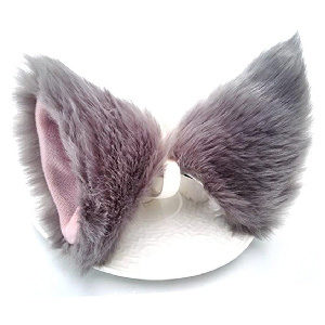 Orejas de perro, lobo o zorro con clip para el pelo