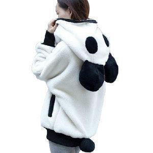 abrigo calentito de oso panda con orejas
