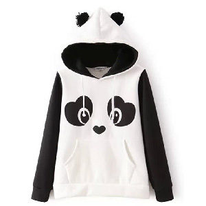 Sudadera con capucha y orejas de oro panda