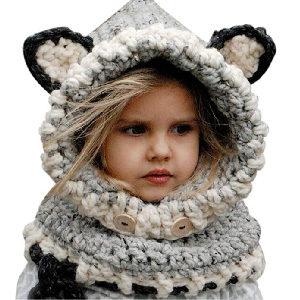 Gorro con orejitas de mapache para para niña o niño
