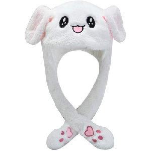Gorro de felpa de conejo con orejas que se mueven.