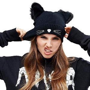 Gorro para mujer, chica o niña con orejas de gato peludas