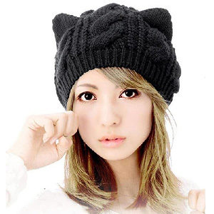 gorro de punto trenzado para chica con orejitas de gato