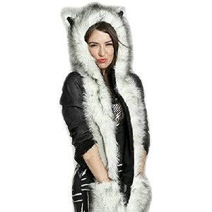 gorro de peluche con orejas, patas largas, y función de guantes y bufanda