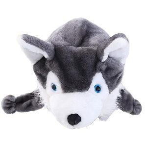 Gorro peludo con orejas de perrito Husky siberiano