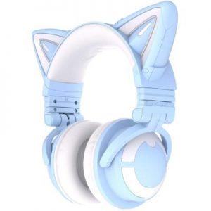 Audifonos YOWU azul cielo con orejitas estilo japones para twich