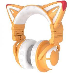 Auriculares YOWU fox spirit diseño zorro con orejitas y color amarillo